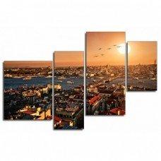Картина на холсте по фото Модульные картины Печать портретов на холсте Город на закате