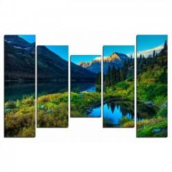 Озеро в горах - Модульная картины, Репродукции, Декоративные панно, Декор стен