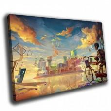 Картина на холсте по фото Модульные картины Печать портретов на холсте Велосипед