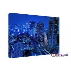 Картина на холсте по фото Модульные картины Печать портретов на холсте Жизнь ночного города