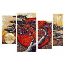 Картина на холсте по фото Модульные картины Печать портретов на холсте Дерево на закате