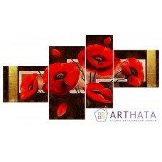 Картина на холсте по фото Модульные картины Печать портретов на холсте Красные маки