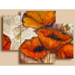 Маки винтаж - Модульная картины, Репродукции, Декоративные панно, Декор стен