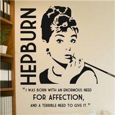 Картина на холсте по фото Модульные картины Печать портретов на холсте Трафарет Одри Хепберн / огромная потребность в любви