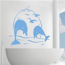Картина на холсте по фото Модульные картины Печать портретов на холсте Трафарет Игры дельфинов