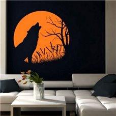 Картина на холсте по фото Модульные картины Печать портретов на холсте Трафарет Волк при луне