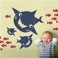 Картина на холсте по фото Модульные картины Печать портретов на холсте Трафарет Акулы и рыбки