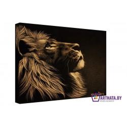 Гравюра льва - Модульная картины, Репродукции, Декоративные панно, Декор стен