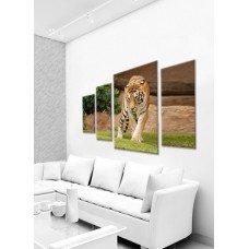 Картина на холсте по фото Модульные картины Печать портретов на холсте Крадущийся тигр