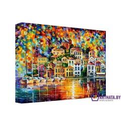 Дома на берегу - Модульная картины, Репродукции, Декоративные панно, Декор стен