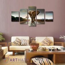 Картина на холсте по фото Модульные картины Печать портретов на холсте Слон на дороге
