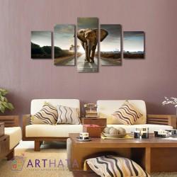 Слон на дороге - Модульная картины, Репродукции, Декоративные панно, Декор стен