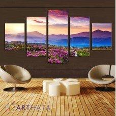 Картина на холсте по фото Модульные картины Печать портретов на холсте Цветы в горах
