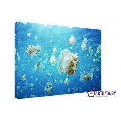 Медузы в океане - Модульная картины, Репродукции, Декоративные панно, Декор стен