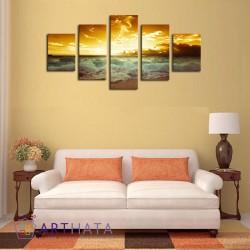 Заходящее солнце - Модульная картины, Репродукции, Декоративные панно, Декор стен