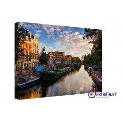 Амстердам под облаками  - Модульная картины, Репродукции, Декоративные панно, Декор стен