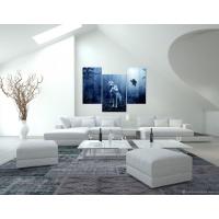 Портреты картины репродукции на заказ - Модульная картина из 3-х частей, синего цвета, волки в ночном лесу