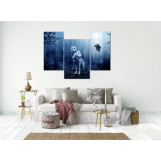 Картина на холсте по фото Модульные картины Печать портретов на холсте Модульная картина из 3-х частей, синего цвета, волки в ночном лесу