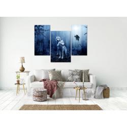 Фото на холсте Печать картин Репродукции и портреты - Модульная картина из 3-х частей, синего цвета, волки в ночном лесу