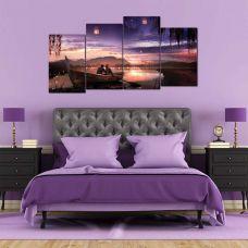 Картина на холсте по фото Модульные картины Печать портретов на холсте Модульная картина из 4-х частей, лодка на закате