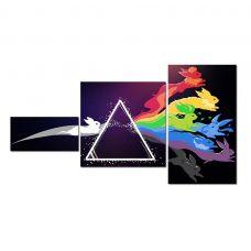 Картина на холсте по фото Модульные картины Печать портретов на холсте Модульная картина из 3 частей, цветные зайчики в призме