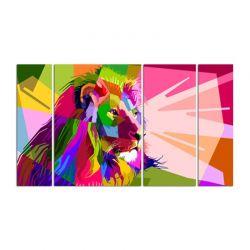 Фото на холсте Печать картин Репродукции и портреты - Модульная картина из 4-х частей, цветной лев