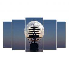 Картина на холсте по фото Модульные картины Печать портретов на холсте Модульная картина из 5-ти частей, корабль в закате