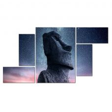Картина на холсте по фото Модульные картины Печать портретов на холсте Модульная картина из 5-ти частей, моаи и космос