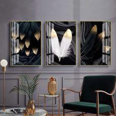 Картина на холсте по фото Модульные картины Печать портретов на холсте Золотые перья