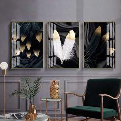 Золотые перья - Модульная картины, Репродукции, Декоративные панно, Декор стен