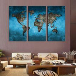 Фото на холсте Печать картин Репродукции и портреты - Модульная картина - Карта мира на стену