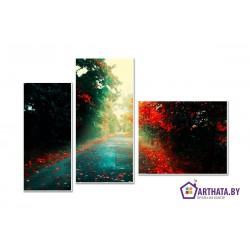 Осенняя дорога - Модульная картины, Репродукции, Декоративные панно, Декор стен