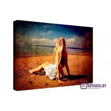 Картина на холсте по фото Модульные картины Печать портретов на холсте Девушка у моря