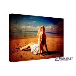 Девушка у моря - Модульная картины, Репродукции, Декоративные панно, Декор стен