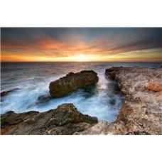 Картина на холсте по фото Модульные картины Печать портретов на холсте Море на фоне заката - Фотообои Море|побережье
