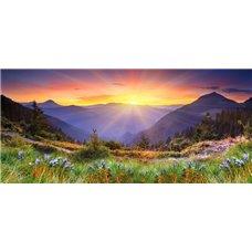 Картина на холсте по фото Модульные картины Печать портретов на холсте Рассвет в горах - Фотообои Закаты и рассветы