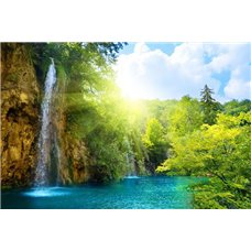 Картина на холсте по фото Модульные картины Печать портретов на холсте Водопад в горах - Фотообои водопады
