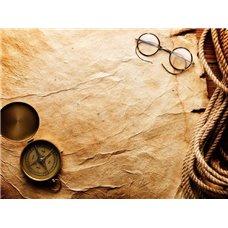 Картина на холсте по фото Модульные картины Печать портретов на холсте Компас и очки на пергаменте - Фотообои винтаж