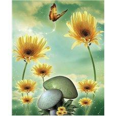 Картина на холсте по фото Модульные картины Печать портретов на холсте Бабочка над цветами - 3D фотообои 3D цветы