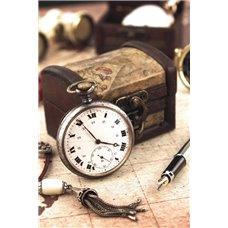 Картина на холсте по фото Модульные картины Печать портретов на холсте Старинная шкатулка и часы - Фотообои винтаж