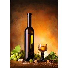 Картина на холсте по фото Модульные картины Печать портретов на холсте Натюрморт с бутылкой вина, бокалом и виноградом - Фотообои винтаж Прованс