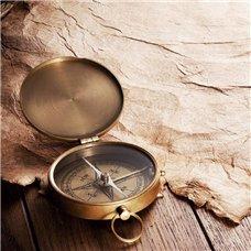 Картина на холсте по фото Модульные картины Печать портретов на холсте Старинный пергамент и компас - Фотообои винтаж