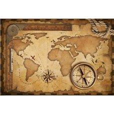 Картина на холсте по фото Модульные картины Печать портретов на холсте Работа картографа - Фотообои карта мира