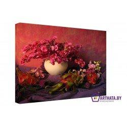 Красные цветы - Модульная картины, Репродукции, Декоративные панно, Декор стен