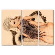 Картина на холсте по фото Модульные картины Печать портретов на холсте Девушка с татуировкой