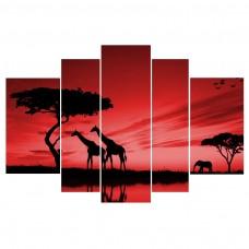 Картина на холсте по фото Модульные картины Печать портретов на холсте Африка на закате