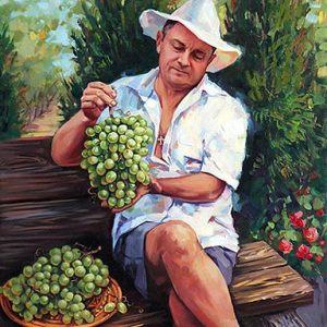Портрет мужчины с гроздью винограда