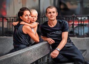 Семейный портрет маслом по фотографии