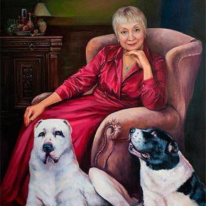 Картина портрет в интерьере
