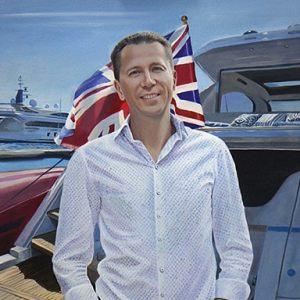 Картина на фоне яхты